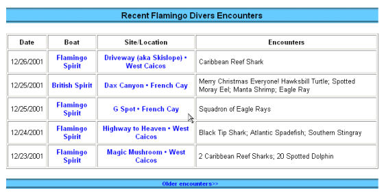 Flamingo Divers Encounters page